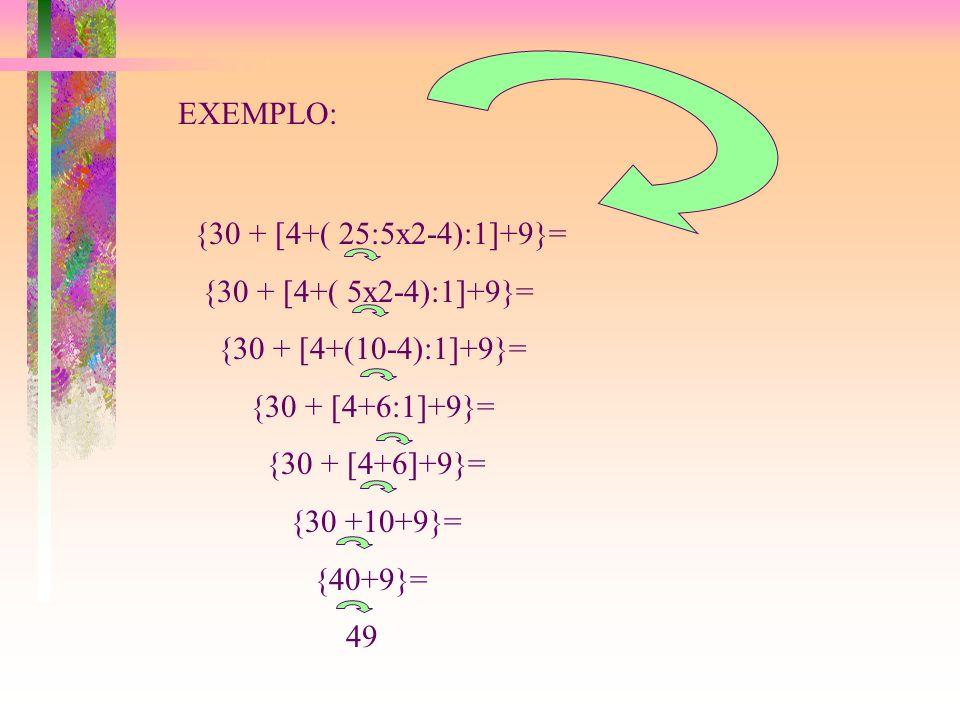 EXEMPLO: {30 + [4+( 25:5x2-4):1]+9}= {30 + [4+( 5x2-4):1]+9}= {30 + [4+(10-4):1]+9}= {30 + [4+6:1]+9}=